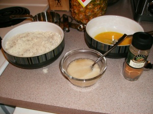 Flour, yolks and baking powder/brandy ready to be mixed in