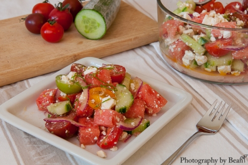 Honey Bee Watermelon Tomato Feta Salad-2