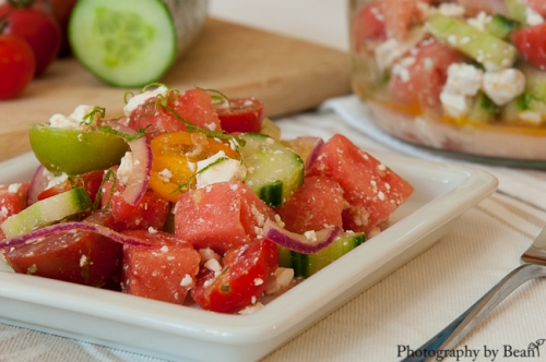 Honey Bee Watermelon Tomato Feta Salad-3