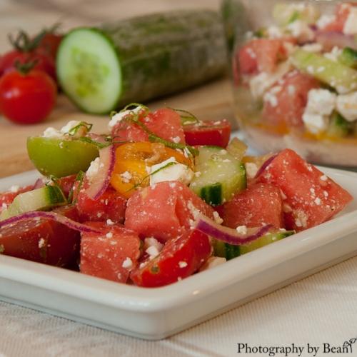 Honey Bee Watermelon Tomato Feta Salad-4
