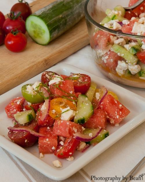 Honey Bee Watermelon Tomato Feta Salad-5