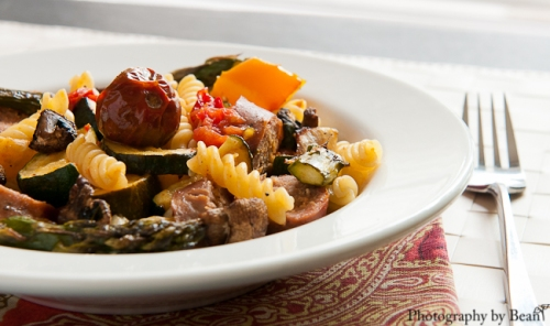 Roasted Vegetable and Sausage Pasta-3